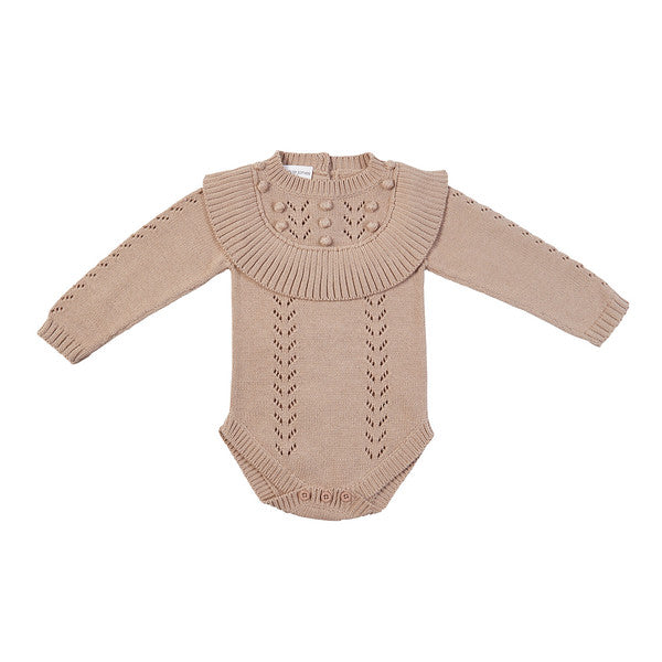 Billy Hand Knit Ruffle Onesie - Almond
