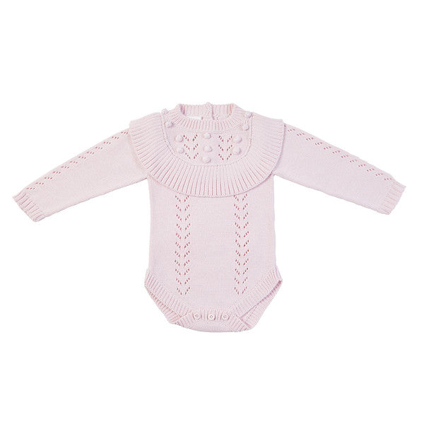 Billy Hand Knit Ruffle Onesie - Soft Pink