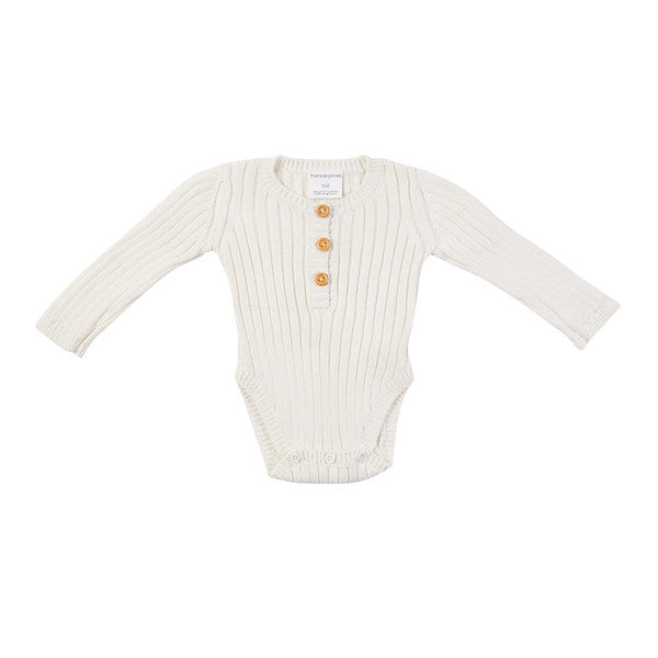Goldie Hand Knit Rib Onesie - Off White