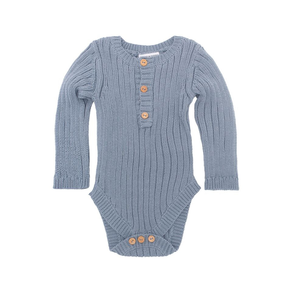 Goldie Hand Knit Rib Onesie Duck Egg Blue