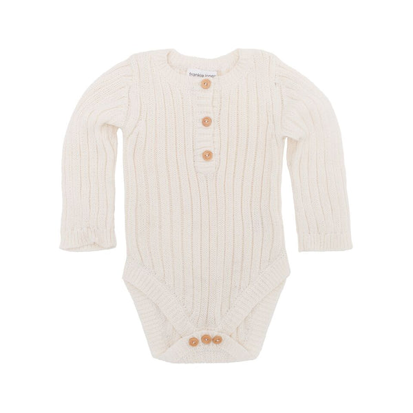 Goldie Hand Knit Rib Onesie Winter White