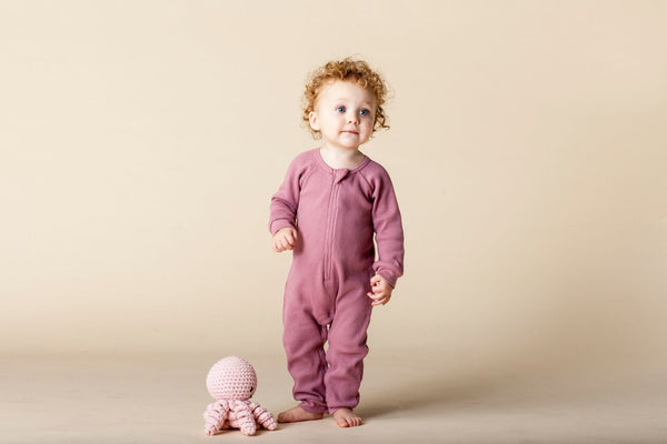 Perrywinkle Waffle Grow Suit - Rose Pink