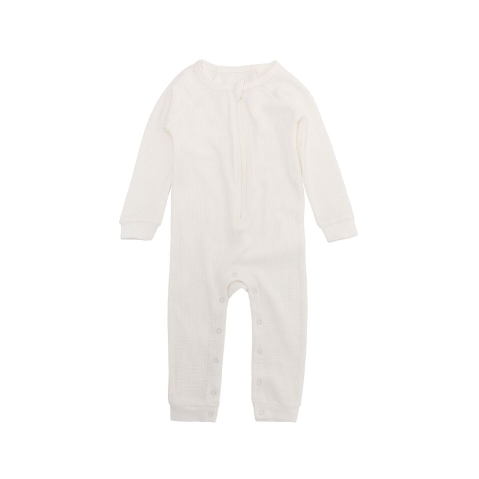 Perrywinkle Waffle Grow Suit - Winter White