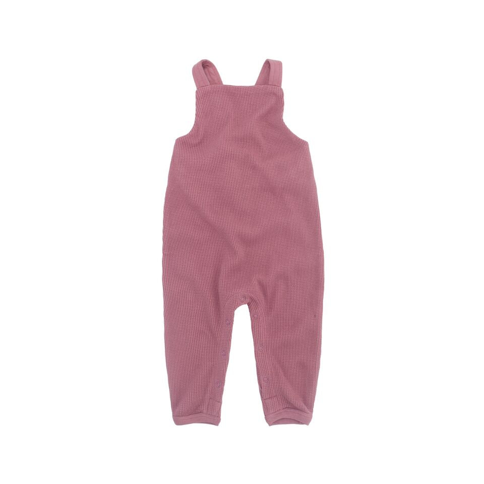 Ziggy Waffle Overall - Rose Pink