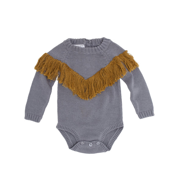 All you need is love knit onesie - Grey / Mustard