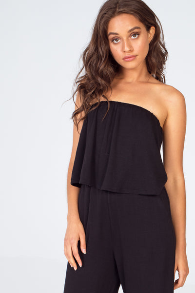 Strapless French Terry Popover Cropped Jumpsuit - Black