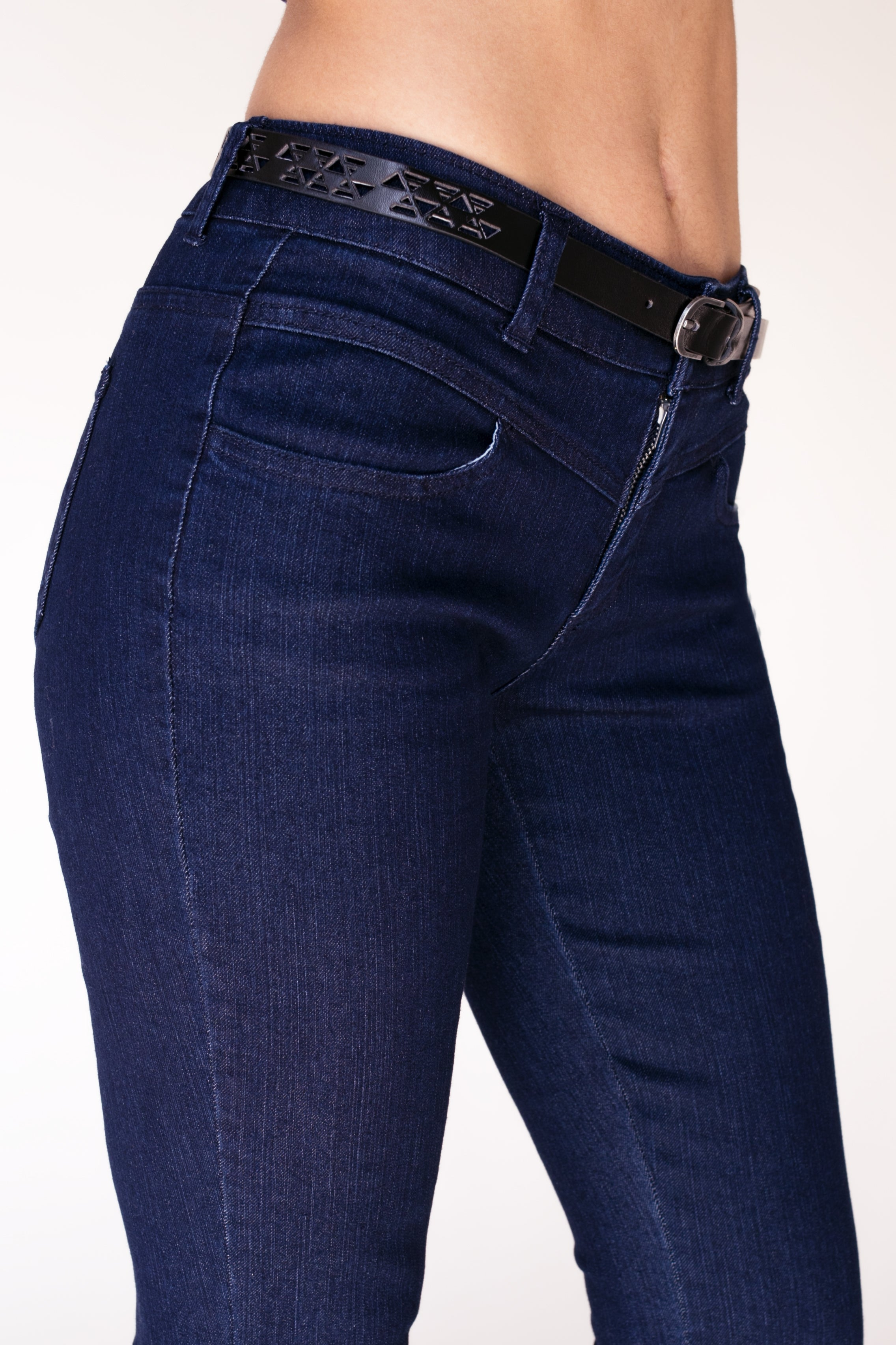 Belted Bootcut Denim Jeans