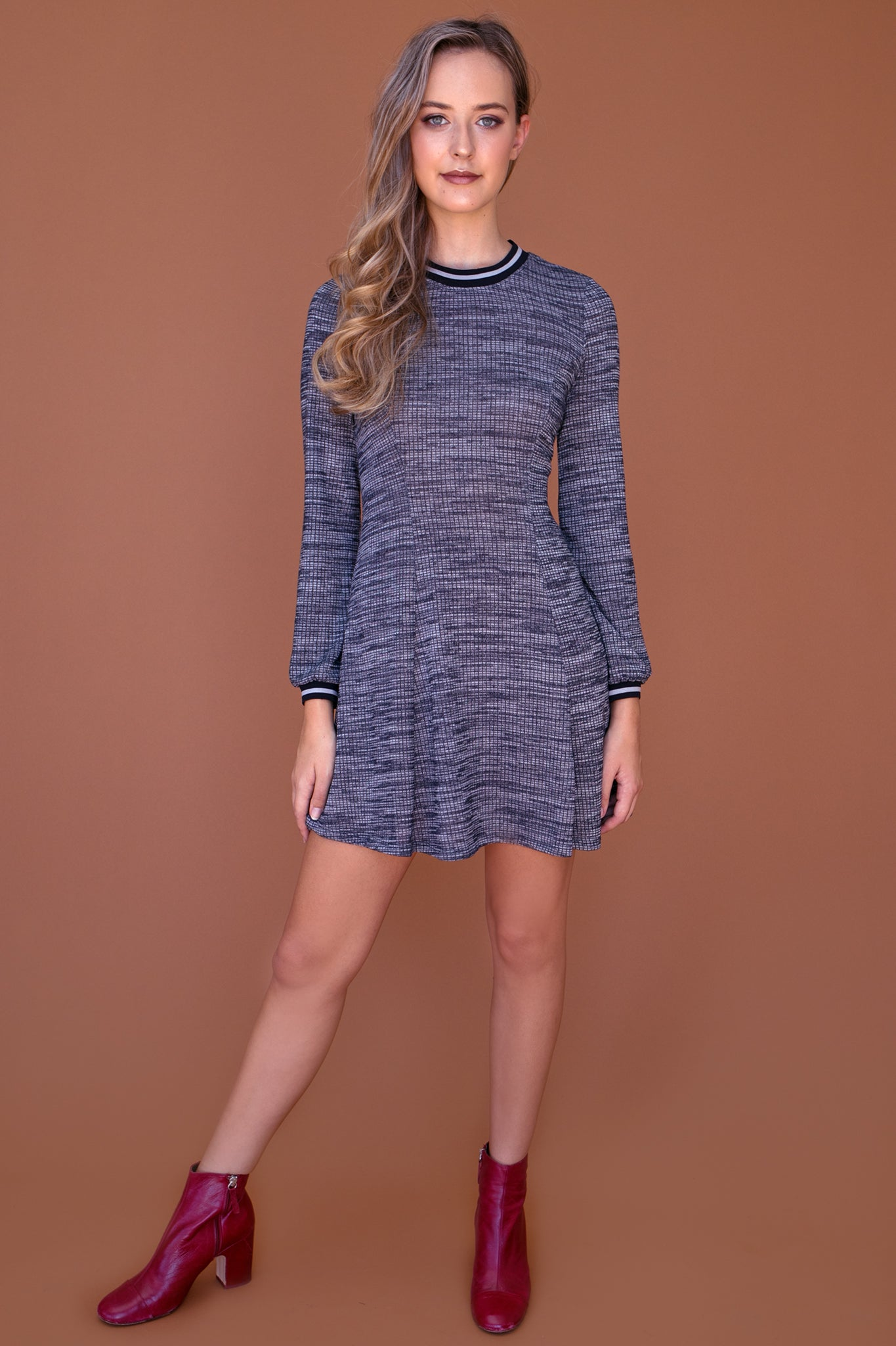LONG SLEEVE SWEATER KNIT FIT & FLARE DRESS