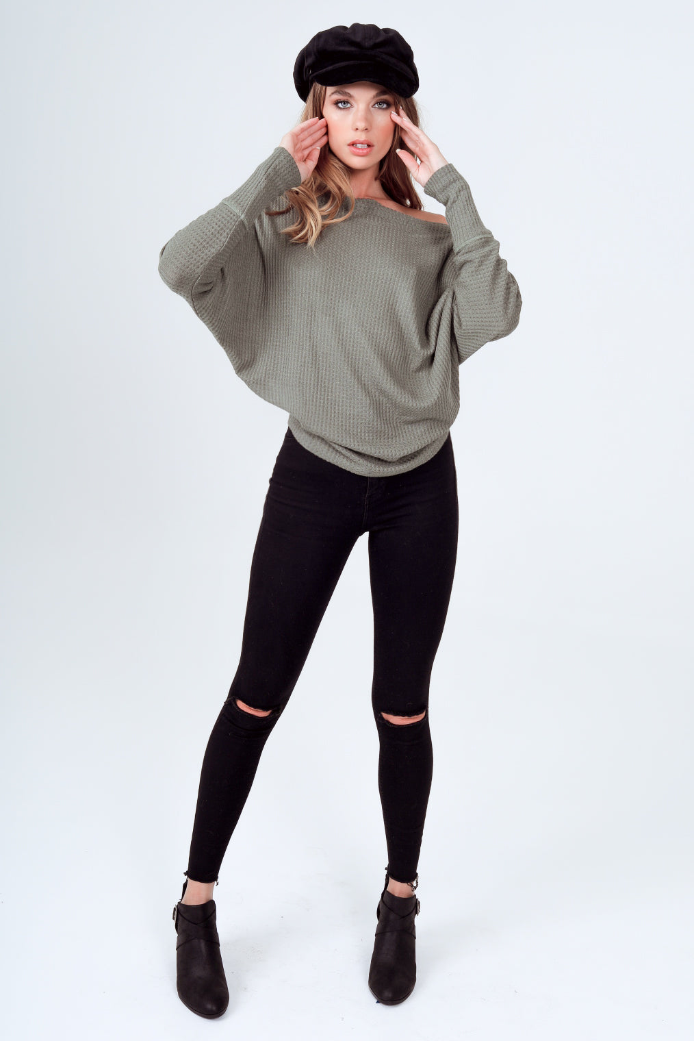 Gypsies & Moondust Boat Neck Long Sleeve Thermal Knit Top in Olive