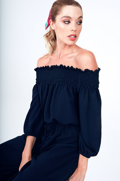 Off The Shoulder Smock Top Cropped Jumpsuit in Navy