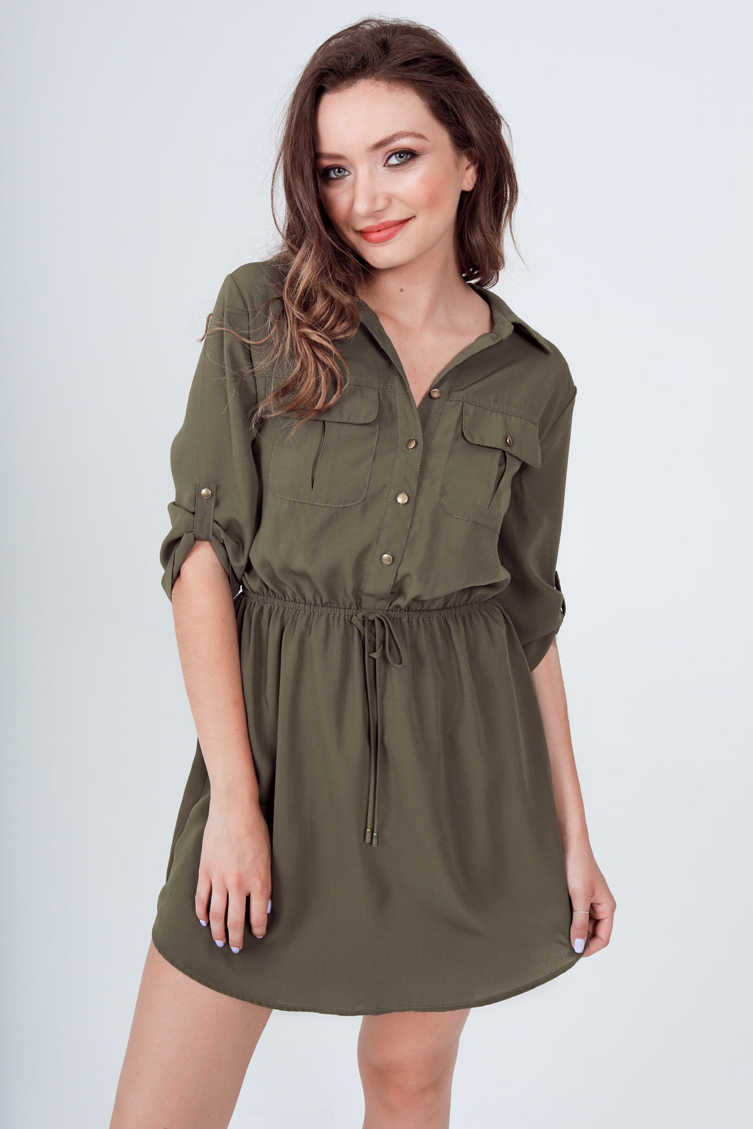 Roll-Up 3/4 Sleeve Drawstring Waist Utility Shirt Dress with Front Pockets in Olive