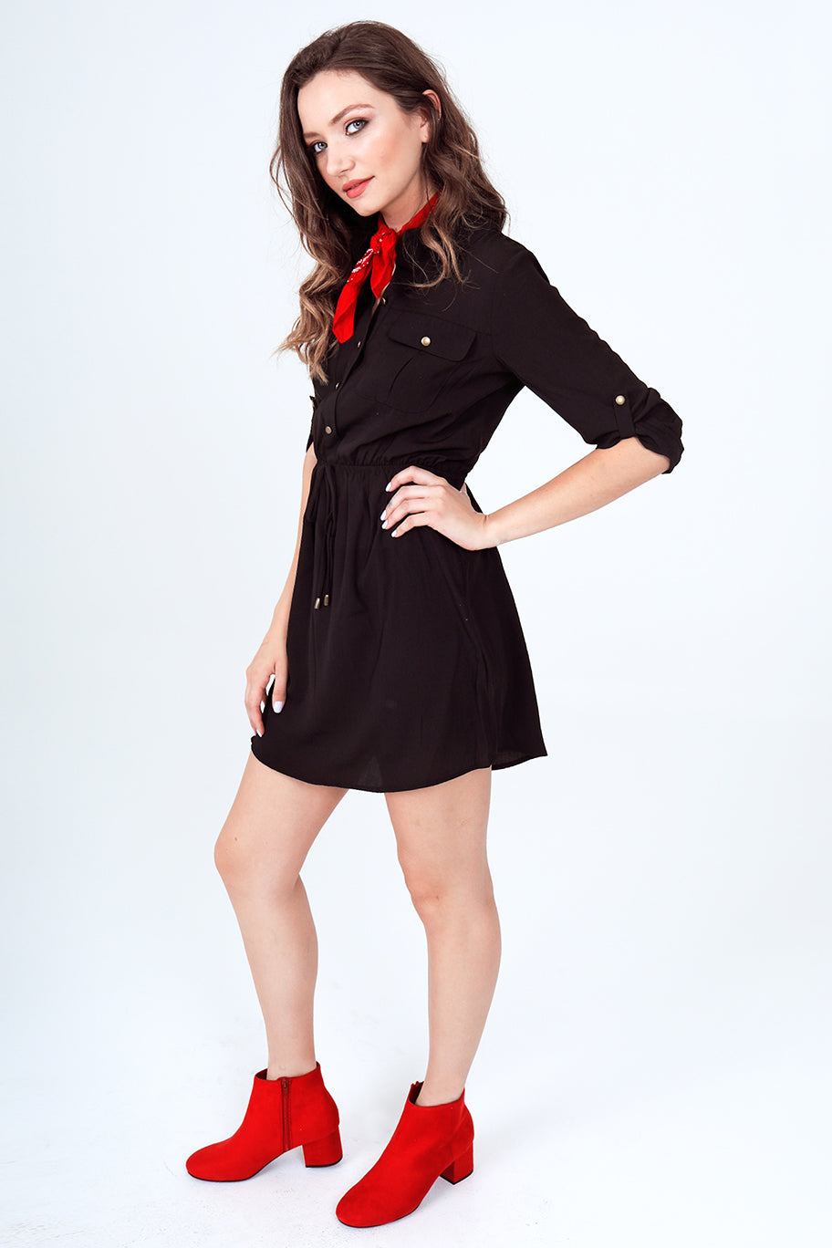 Roll-Up 3/4 Sleeve Drawstring Waist Utility Shirt Dress with Front Pockets in Black