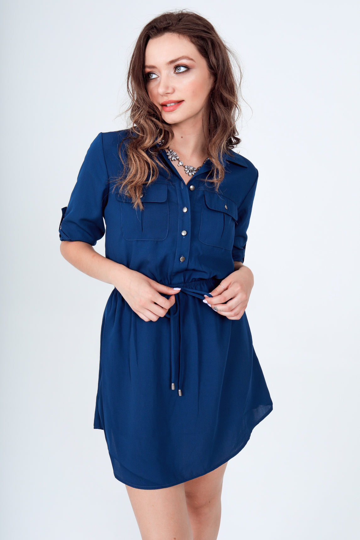 Roll-Up 3/4 Sleeve Drawstring Waist Utility Shirt Dress with Front Pockets in Navy