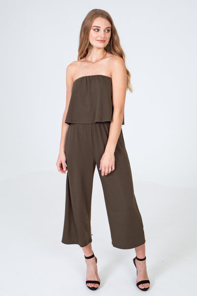 Strapless French Terry Popover Cropped Jumpsuit - Olive