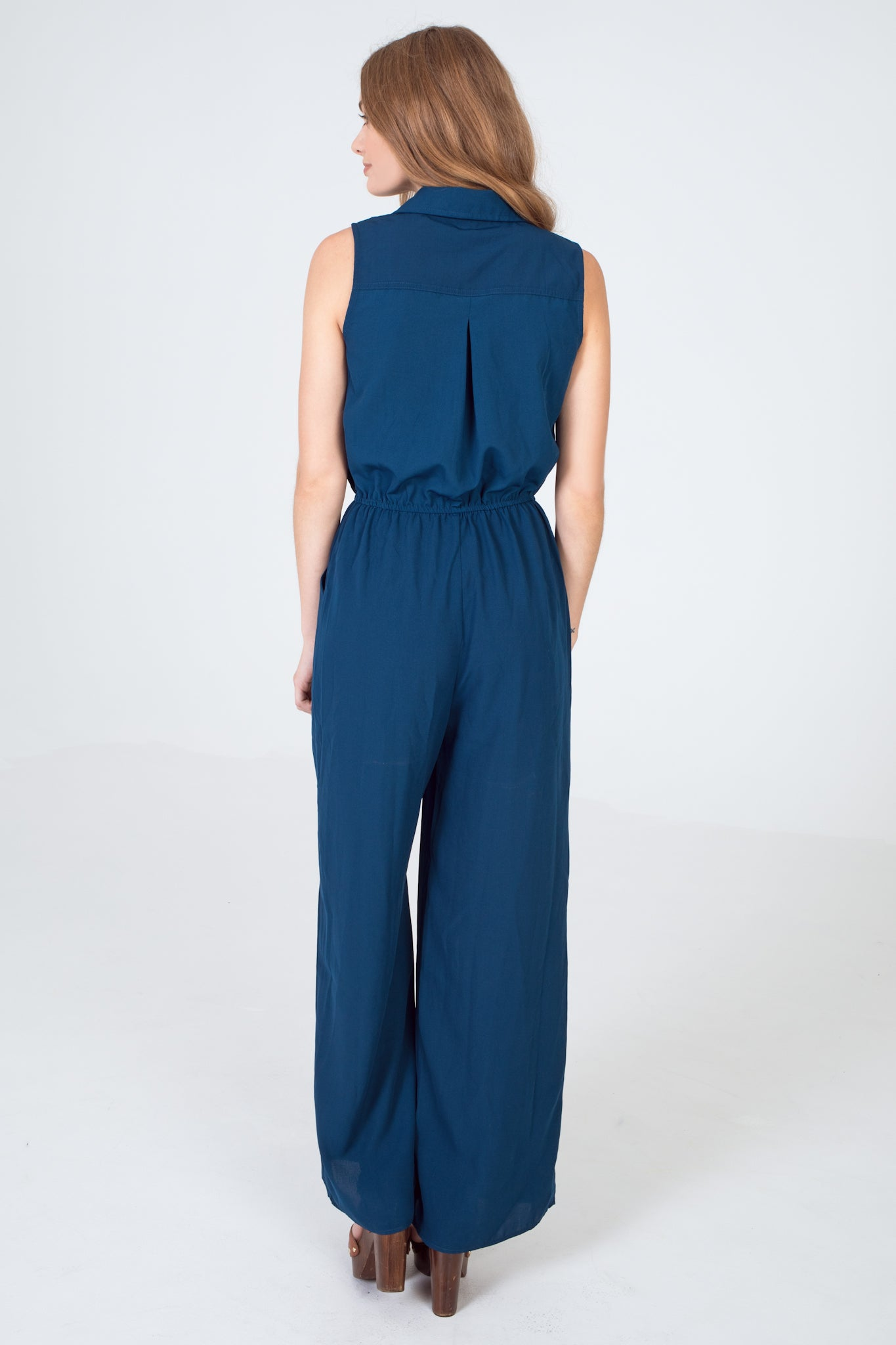 Sleeveless Utility Wide Leg Jumpsuit - Navy