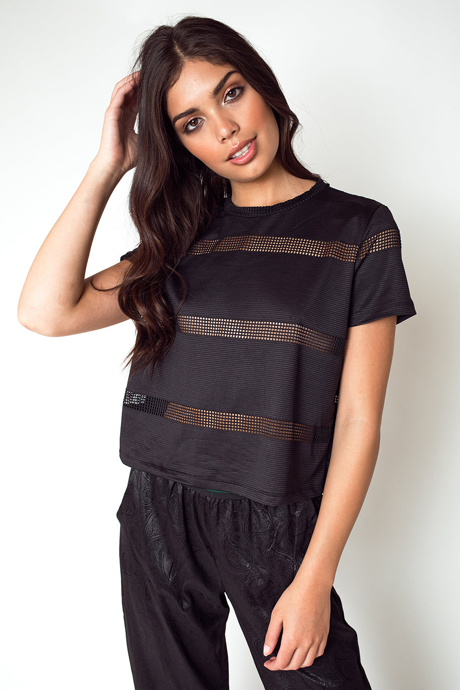 Boy Fit Tee with Contrast Mesh Stripes in Black