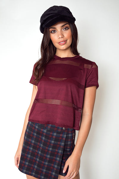 Boy Fit Tee with Contrast Mesh Stripes in Maroon