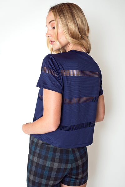 Boy Fit Tee with Contrast Mesh Stripes in Navy