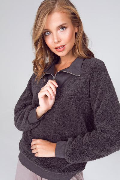 quarter zip sherpa pullover, charcoal sherpa pullover jacket