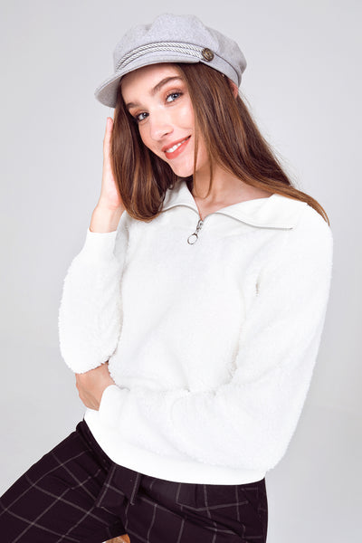 quarter sleeve sherpa pullover, ivory sherpa pullover jacket