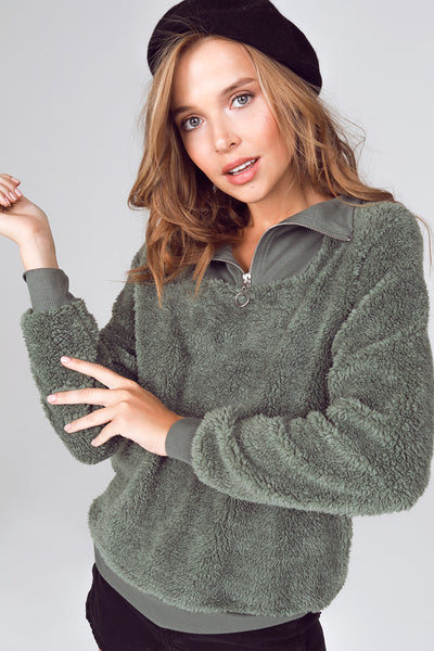 quarter zip sherpa pullover, olive sherpa pullover jacket