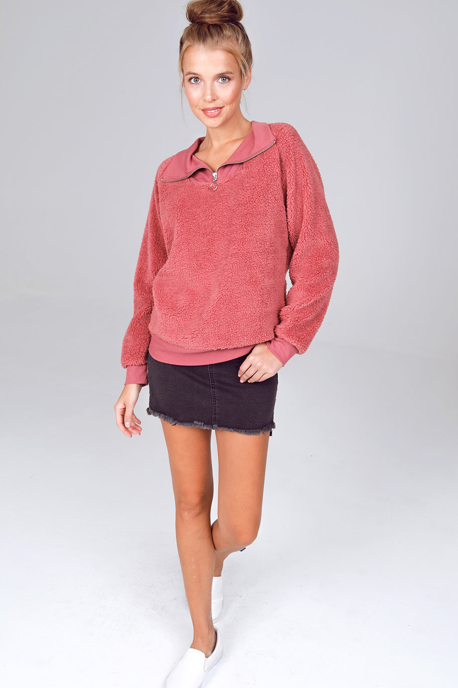 Gypsies & Moondust Quarter Zip Sherpa Pullover in Whiskey Rose