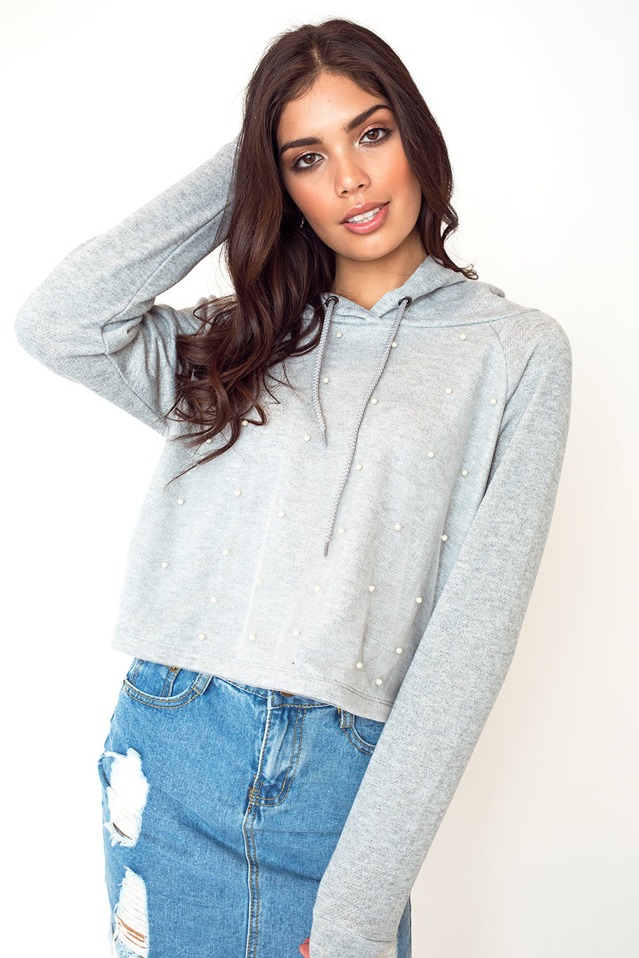 Dotted Crop Top Hoodie in Heather Grey