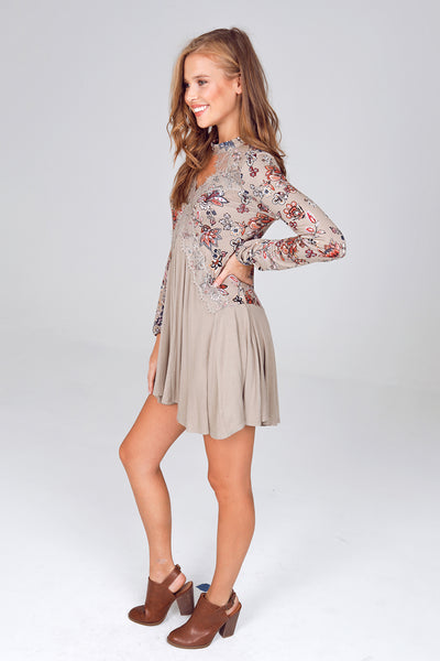 Long Sleeve Floral Printed Gigi Collar Tunic Dress in Olive