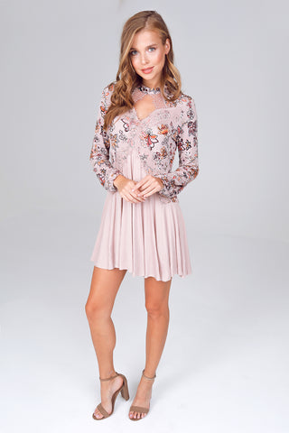 Long Sleeve Floral Printed Gigi Collar Tunic Dress in Taupe