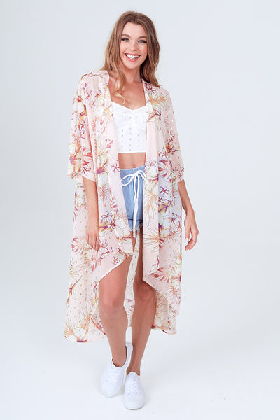 Gypsies & Moondust Pink Floral Lurex Trim Kimono
