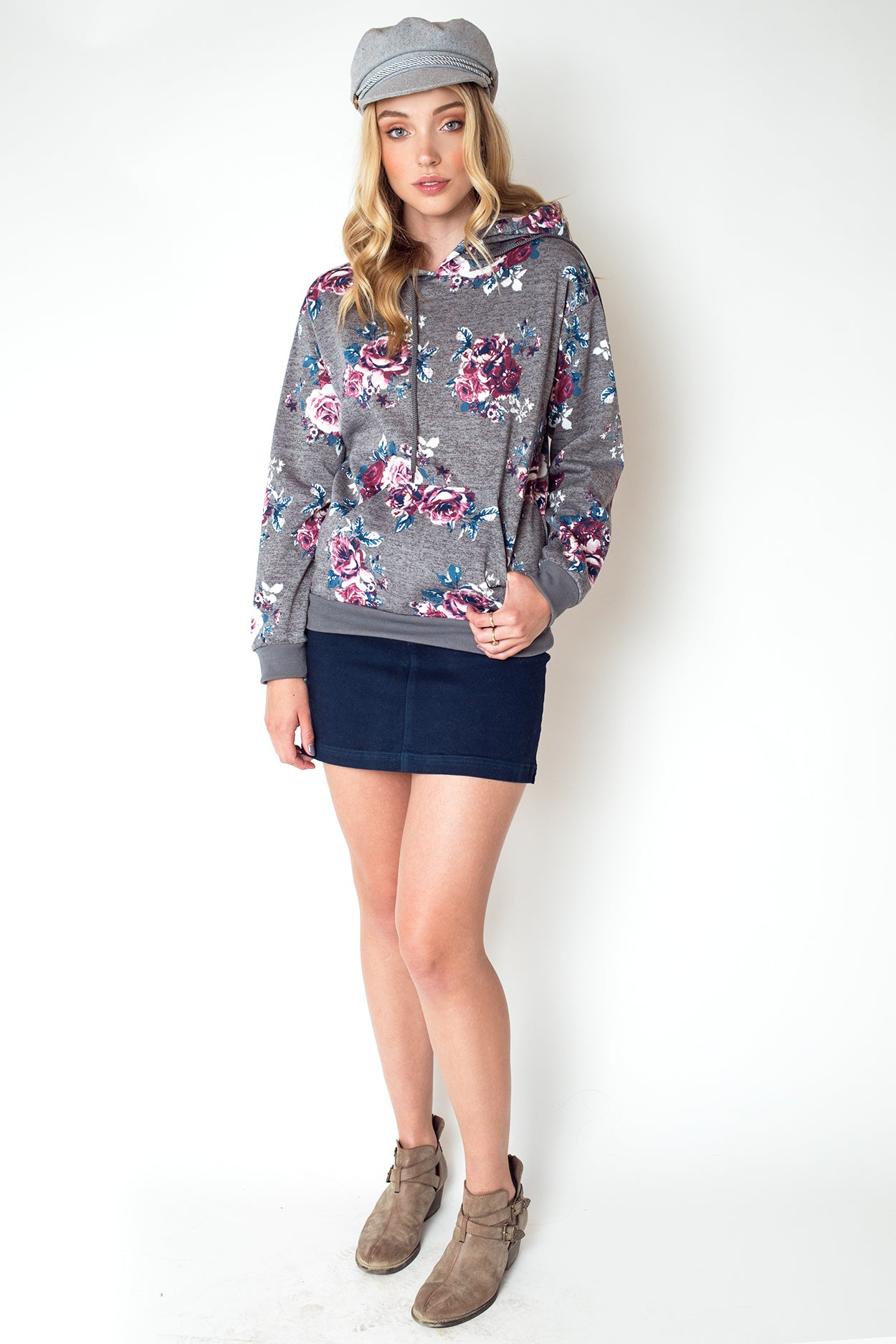 heather grey and floral print hoodie