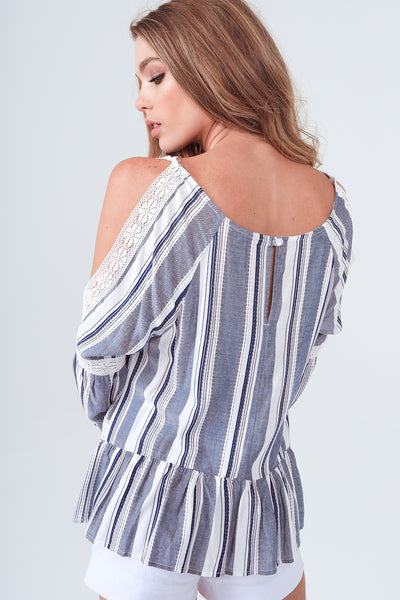 Gypsies & Moondust Slit Sleeve Navy Menswear Stripe Tunic Top