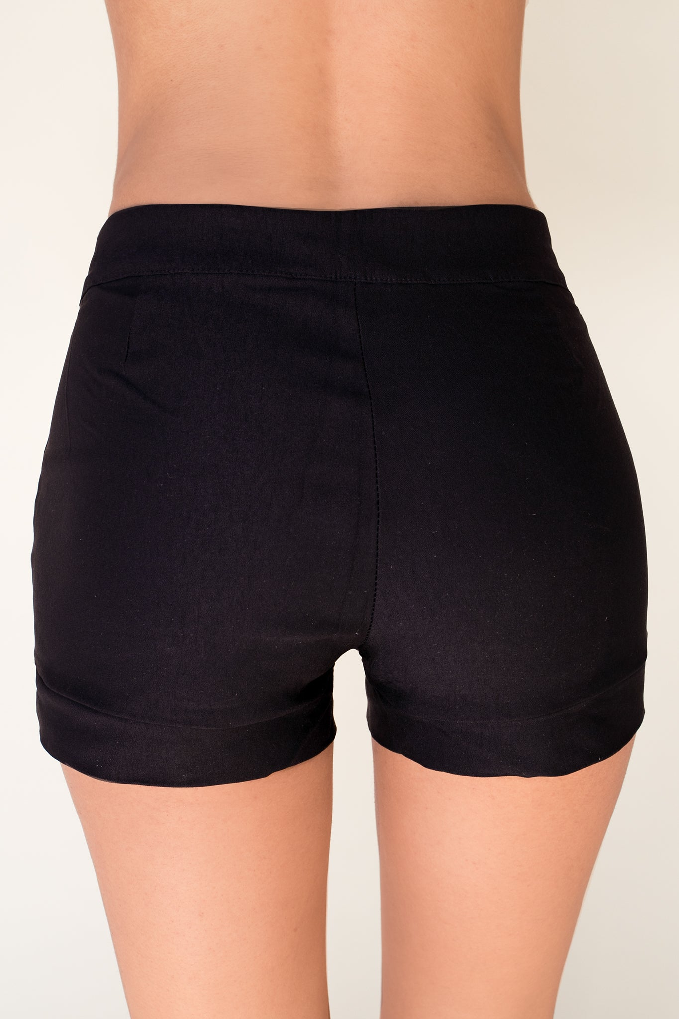 High Waisted Sailor Shorts - Black