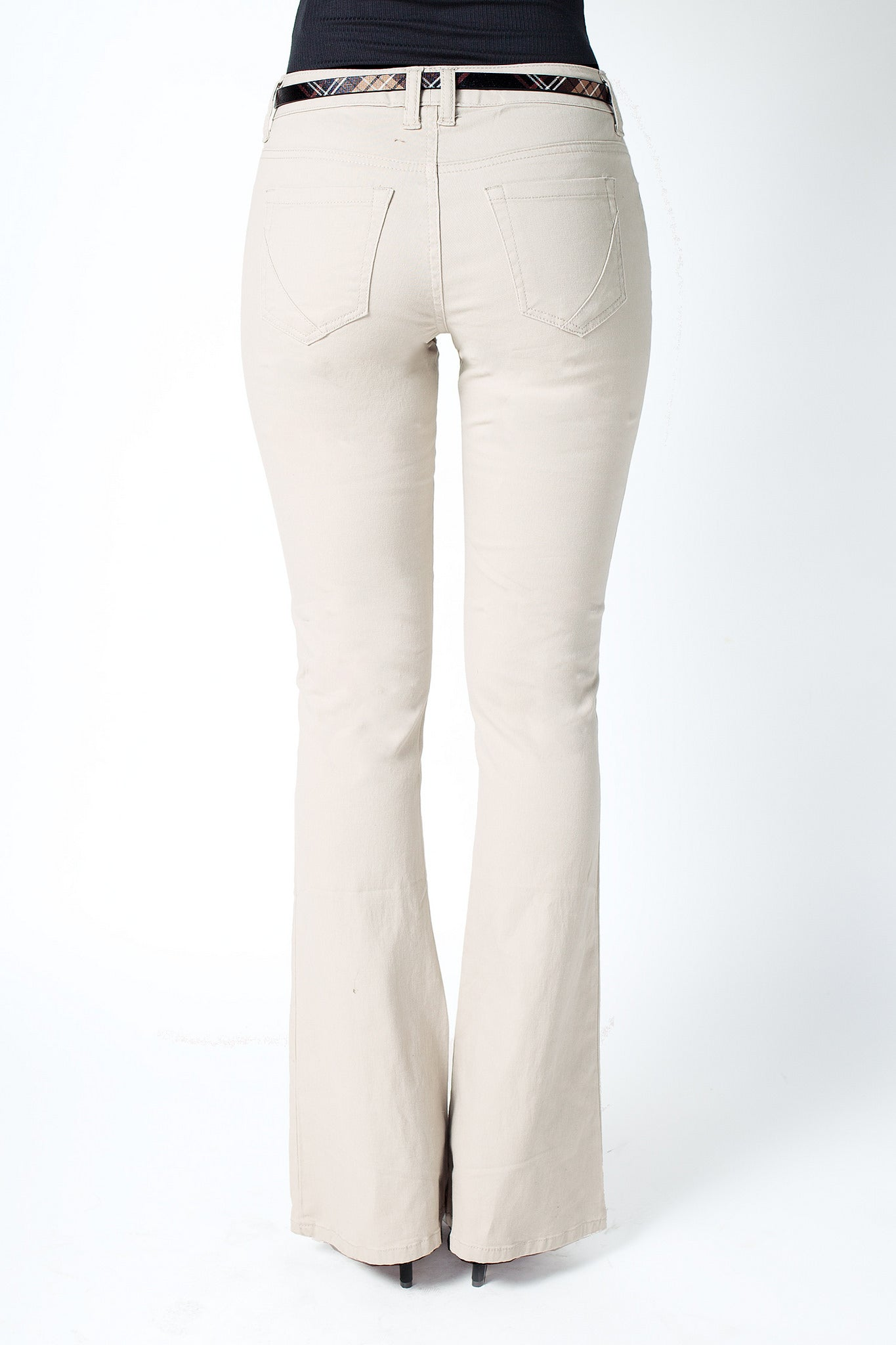 Belted Flare Twill Pants