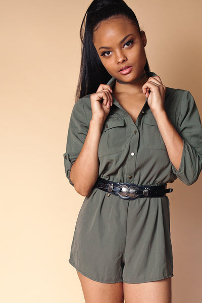 Button Up Shirt Romper