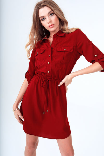 Roll-Up 3/4 Sleeve Drawstring Waist Utility Shirt Dress with Front Pockets in Brick