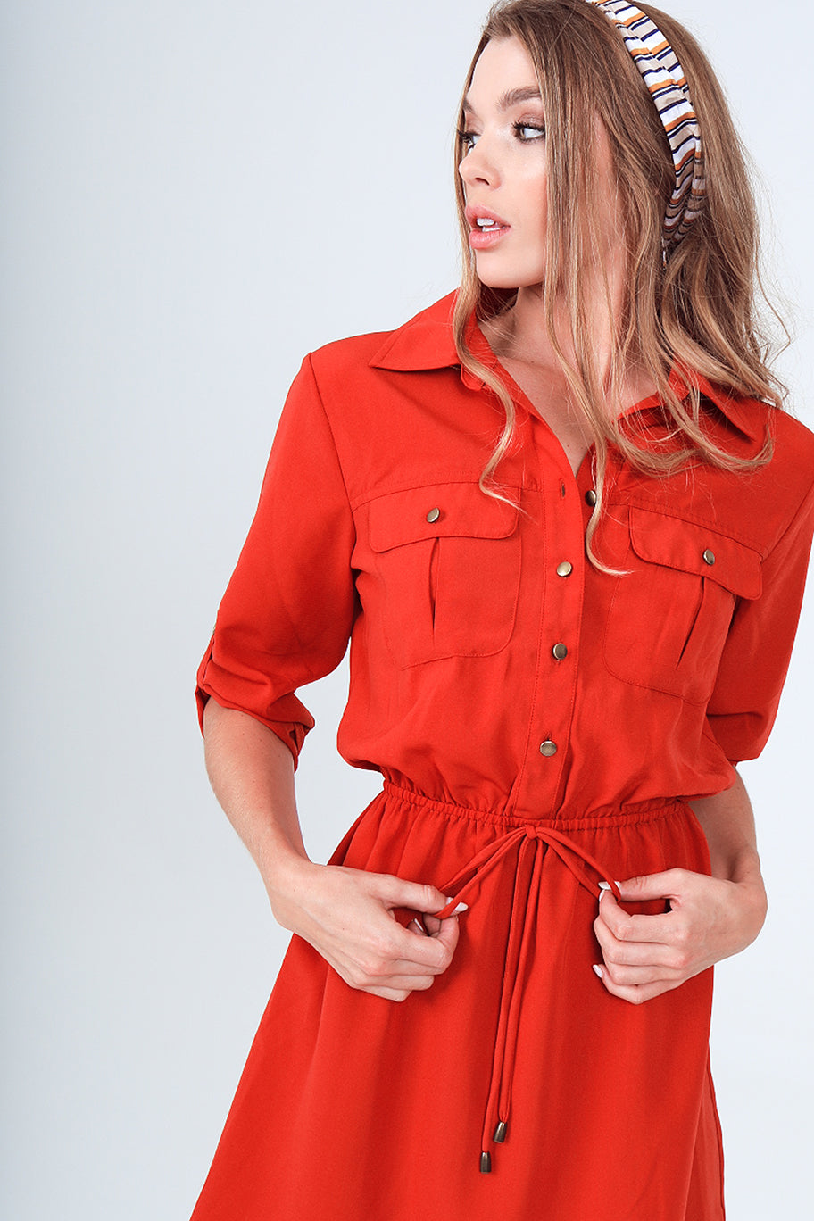 Roll-Up 3/4 Sleeve Drawstring Waist Utility Shirt Dress with Front Pockets in Flame