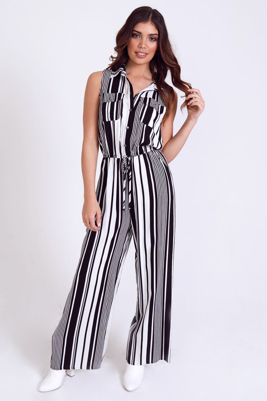 Sleeveless Striped Utility Wide Leg Jumpsuit