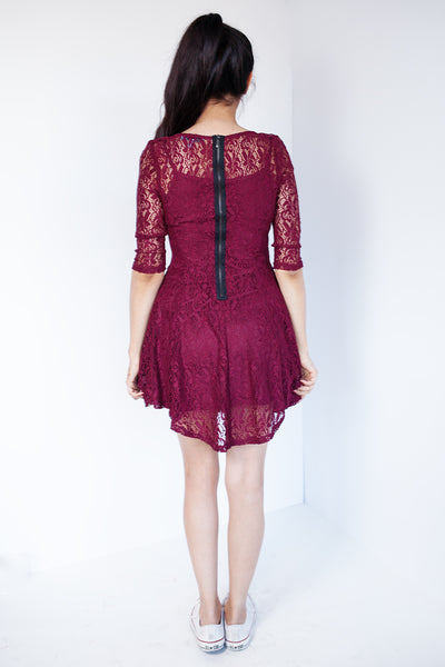 Princess Sleeve Fit & Flare Lace Dress