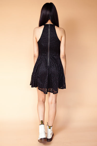 High Neck Halter Sleeveless Fit & Flare Lace Dress
