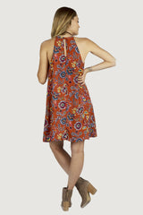 Irene Keyhole Dress - Rust/Yellow