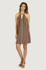 Irene Keyhole Dress - Rust/Multi