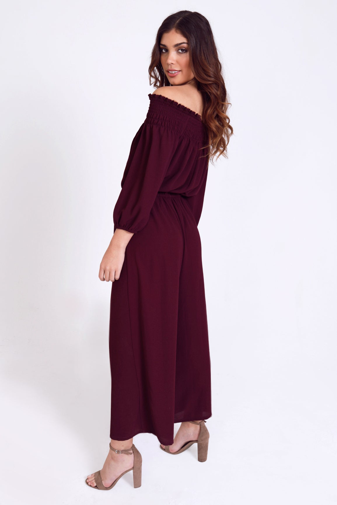 Off The Shoulder Smock Top Cropped Jumpsuit in Wine