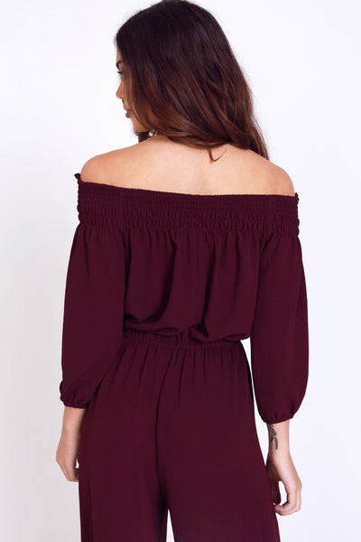 Barcelona Jumpsuit in Wine