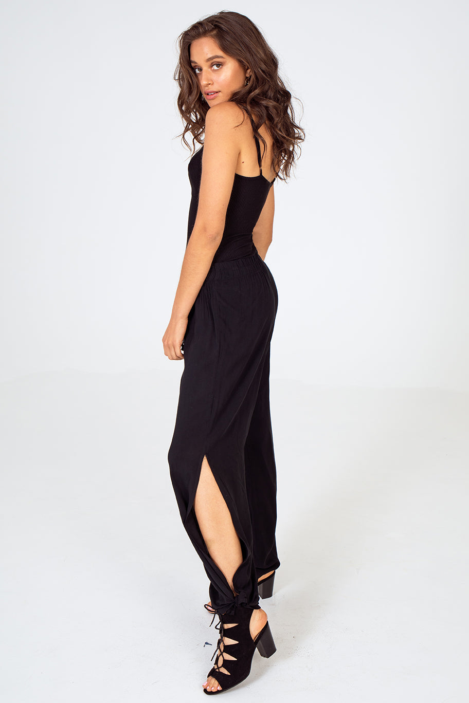 Black palazzo pants with ankle slit, black palazzo pants