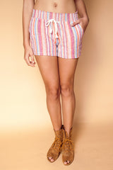 Multi Colored Striped Pocket Shorts