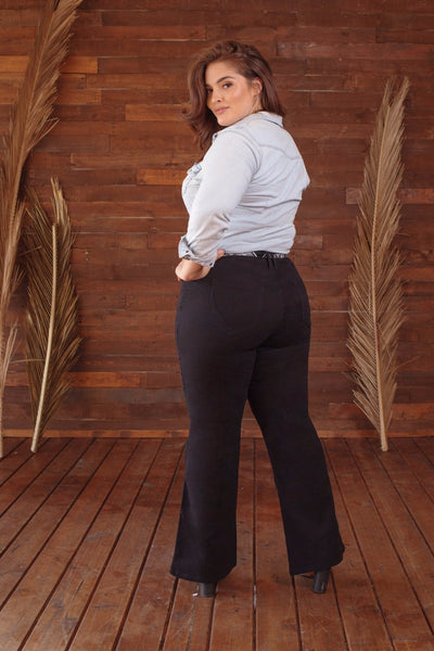 Belted Flare Twill Pants - Plus Size