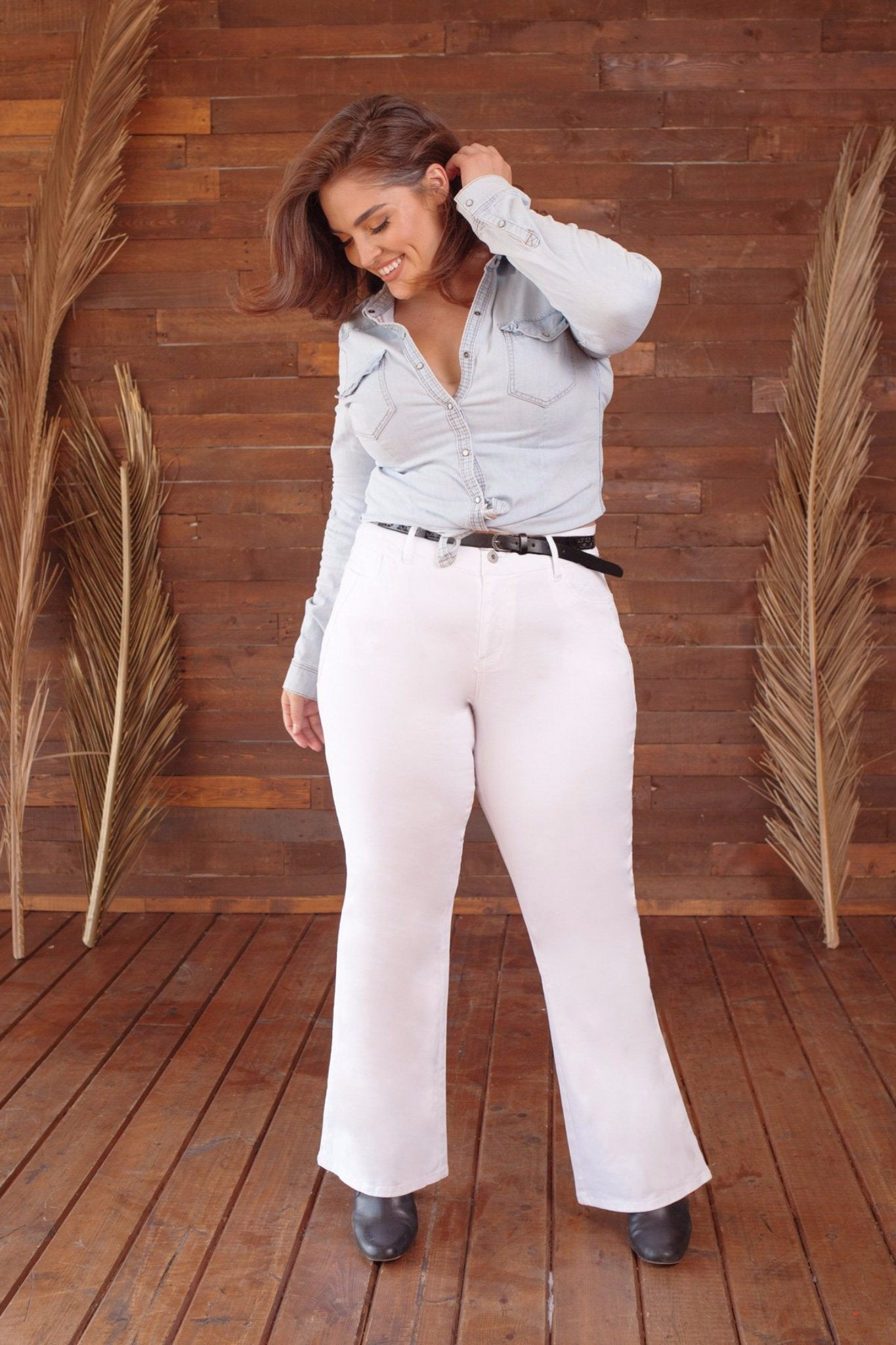Plus Size Belted Bootcut Twill Pants