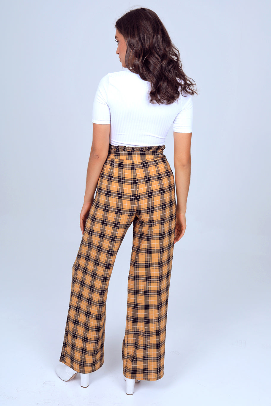 Paper-Bag Waist Self Belted Wide Leg Pant in Mustard