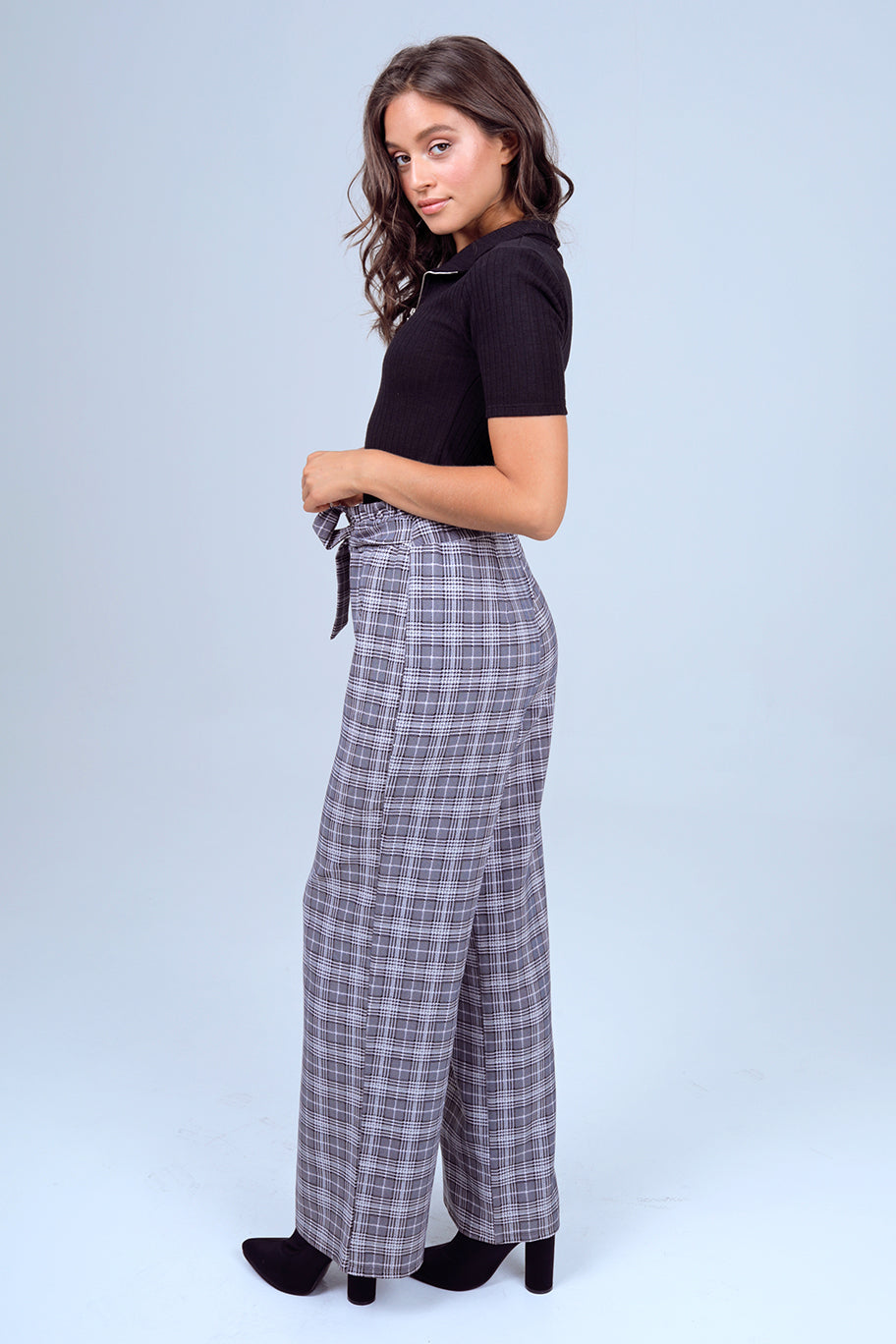 Houndstooth Paper-Bag Waist Self Belted Wide Leg Pants